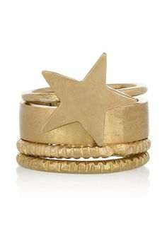 Nyota gold-tone ring set  by MADE