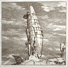 """Drawing by Lebbeus Woods - recognize this sketch from a spaceship in a movie? """"The fifth element"""" - ship in the beginning"""