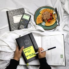 Start your morning☀️ off right! Eat a hearty breakfastand write down✍ your focuses for today on a post-it note on the front of your planner for easy access.  - #passionplanner #plannerlife #academic #breakfast #goaldigger #waffles #study