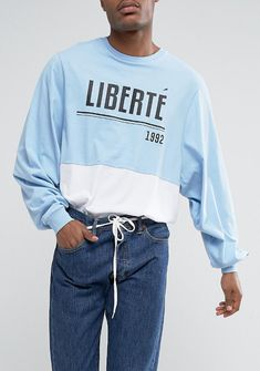 ASOS Super Oversized Batwing Long Sleeve T-Shirt With Liberte Print And Panelling from ASOS (men, style, fashion, clothing, shopping, recommendations, stylish, menswear, male, streetstyle, inspo, outfit, fall, winter, spring, summer, personal)