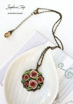 pendant necklace ,handmade flowers necklace , antique jewelry , bronze, polymer clay flower, handmade jewelry, pendant