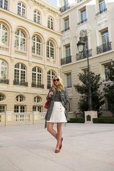Stripes on stripes in Monte Carlo // Atlantic-Pacific Black Skirt Outfits, Viva Luxury, Blair Eadie, Atlantic Pacific, Nautical Looks, Preppy Girl, Fru Fru, Red Flats, Summer Street