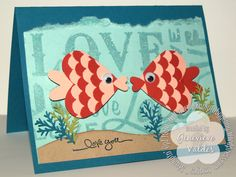 Stampin' Up! Fish Punch Art Valentine Card
