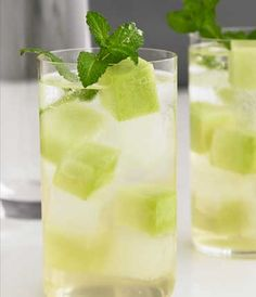 HONEYDEW COOLER    Vodka  Honeydew Melon  Honey  Coconut Water  Lime Juice  Simple Syrup  Crème De Banane  Mint Leaves  Club Soda