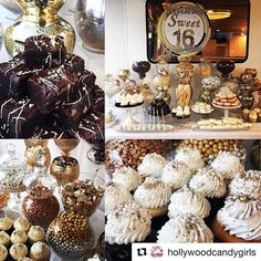 """""""Yay Team! #Repost @hollywoodcandygirls ・・・ Imani's Gold & Glam Super SWEET 16 aboard one of the beautiful party yachts in Marina Del Rey  @fantaseayachts @hollywoodcandygirls #sweet16 #dessertbar #dessert #candy #candybuffet #caterer #LA #eventprofs #foodie #desserttable #yachting #partyboat #glam #gold #girls #birthday #design #cupcakes #cakepops #logo #chocolate #donuts #candy"""" by @jackiesorkin (jackiesorkin). • • What do you think about this one? @freemancompany @fresh_floral_design…"""
