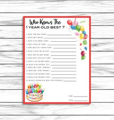 Birthday Party Game, First Birthday Game, Birthday Game, Who Knows The 1 Year Old Best, One 1st Birthday Party Games, 2 Year Old Birthday Party, Holiday Party Games, Boy First Birthday, Birthday Ideas, First Birthday Activities, 1 Year Old Games, Carpe Diem, Thing 1