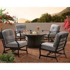 Member's Mark Agio Hastings Fire Pit Chat Set with Sunbrella Fabrics - Sam's Club Fire Pit Furniture, Patio Furniture Sets, Cool Furniture, Fire Pit Chat Set, Fire Pit Table Set, Outdoor Fire Pit Table, Fire Pit Dimensions, Patio Seating, Patio Dining