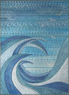 Ocean Quilt, Beach Quilt, Quilting Projects, Quilting Designs, Quilting Ideas, Quilting Templates, Landscape Art Quilts, Landscapes, Landscape Design