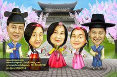 Karikatur Wajah digital tema KOREA