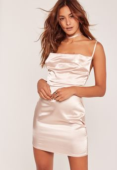 Missguided - Nude Silky Cowl Neck Harness Bodycon Dress