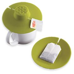 The Tea Bag Buddy: holds a tea bag firmly in place while it steeps and, when done, flips over to work as a coaster to hold the used tea bag. Great stocking stuffer. $4.99