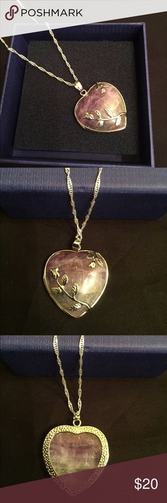 Purple Heart Stone Silver Chain Necklace Purple Heart Stone Silver Chain Necklace, chain is 23 inches long. Brand new. Box in picture not included. Jewelry Necklaces