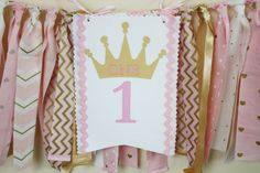 Princess Highchair Banner Pink and Gold Princess by MyLittleBoobug