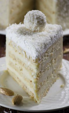 Almond coconut cake is delicious blend of almond, coconut, white chocolate and lemon flavors.