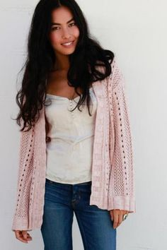 Goddis Isabella Open Knit Cardigan in Seashell 'LAST ONE'