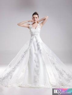 A-Line V-Neck Lace Chapel Train Wedding Dress
