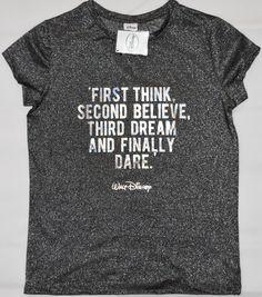 Primark Walt Disney Quote T Shirt '1st Think' Womens Ladies Silver UK Sizes 4-20