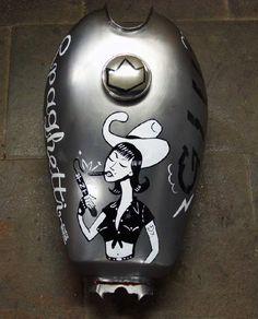 """Spaghetti Western"" Illustrated motorcycle gas tank by Chris Watson from Metamorfosis Masiva"