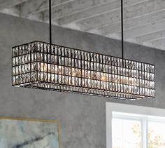 What do you guys think of this one? Its CHEAP!!! Adeline Crystal Rectangular Chandelier | Pottery Barn