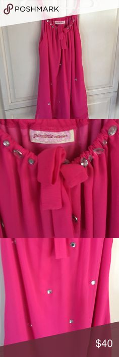 Pink chiffon crepe dress from Neiman Marcus Beautiful hot pink dress with rhinestones around the neck and threw out the dress. Dresses Midi
