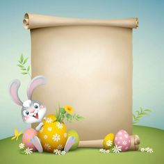 cartoon illustration of cute easter bunny with paper scroll for copy. Easter Wallpaper, Flower Wallpaper, Easter Quiz, Easter Backgrounds, Cute Easter Bunny, Easter Wishes, Frame Template, Spring Crafts, Easter Crafts