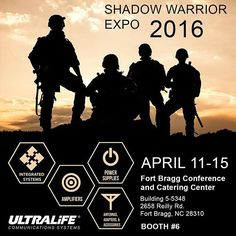 The 2016 Shadow Warrior Expo starts next week from April 11-15. Ultralife will be exhibiting during Shadow week at the Fort Bragg Conference and Catering Center. Visit booth #6 to see our latest tactical communications offerings.  #SRW #Applique #20W #L-Band #Soldier #Radio #Waveform #Smallest #Lightest #Tactical #Networking #MIL-STD-810F #Thales #Rifleman #8LBS #10-36 #VDC #Range #Extension #US #Army #Ultralife #Comm #Systems #McDowell #Research #VIPER #military  #tradeshow