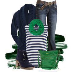 Navy and Green, created by kswirsding on Polyvore