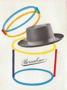 By Max Huber for R.Castiglioni, c.1956, Borsalino.