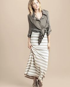 awesome gray striped maxi dress with tied blouse and gladiators