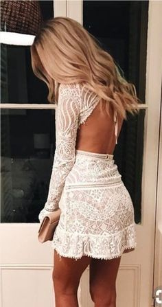 This is the cutest white lace dress ever! - / white lace dress cute outfits for girls 2017 Cute Dresses, Beautiful Dresses, White Lace Dresses, Sexy White Dress, Maxi Dresses, Gorgeous Dress, White Lace Mini Dress, Lace Homecoming Dresses, Hoco Dresses 2017