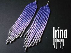 Native american beaded earrings Ultra viole seed bead earrings Fringe earrings #IrinaHaluschak #Beaded