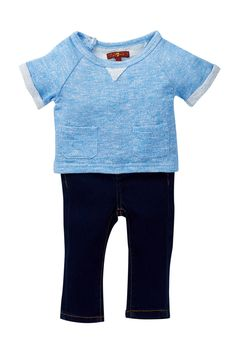 Terry Top & Denim Jean 2-Piece Set (Baby Girls) by 7 For All Mankind on @HauteLook