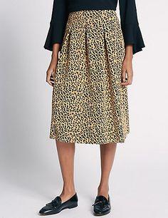 Leopard Print A-Line Skirt | M&S