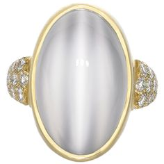 Phenomenal Platinum Moonstone Ring | From a unique collection of vintage cocktail rings at http://www.1stdibs.com/jewelry/rings/cocktail-rings/