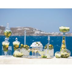 """Destination Wedding Style: GreeceSweet Sentiment As a sign of Greek hospitality, a lemonade bar greets guests outside the church. In this recipe, honey is added to fresh-squeezed lemon juice """"to symbolize the sweet moments the couple will share,"""" Santorini Wedding, Greece Wedding, Festival Decorations, Wedding Decorations, Table Decorations, Mykonos, Summer Wedding, Dream Wedding, Grecian Wedding"""