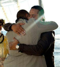 Jon Fatu hugging his father in law