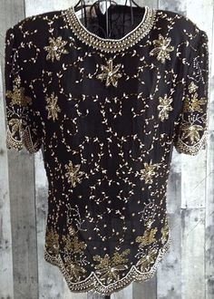 Vintage Laurence Kazar Sequin Beaded  Top Blouse 100% Silk Black Lined XL #LaurenceKazar #Top