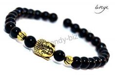 BUDDHA náramok gold ónyx Buddha, Beaded Bracelets, Gold, Jewelry, Jewlery, Jewerly, Pearl Bracelets, Schmuck, Jewels