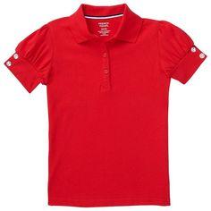 Girls 4-20 & Plus Size French Toast Rhinestone Button School Uniform Polo Shirt, Girl's, Size: 6-6X, Red