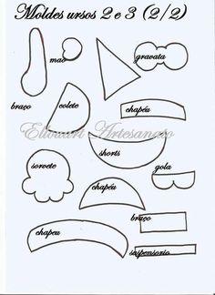 Eu Amo Artesanato: Ursinhos em eva com moldes Paper Piecing, Hello Kitty, Clip Art, Sites, Quiet Books, Tutu, Amanda, 1, Templates