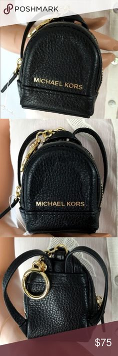 Michael Kors Key Chain/Key Fob Adorable new MK Key Chain/Fob in Black Pebbled Leather and Gold Hardware! it is a tiny little cute Backpack that you can hang from your bag or use for keys! It opens just like the MK Backpack measures 3.5 X 3 X 1 🚫no trades price firm🚫 MICHAEL Michael Kors Accessories Key & Card Holders