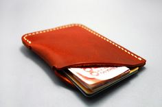 Minimalist Leather Wallet Insert  Card Case  Retro by SheepGoods