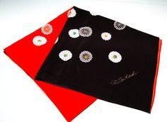 Vintage Japanese Silk Scarf Black Red with by VintageMeetModern, $20.00