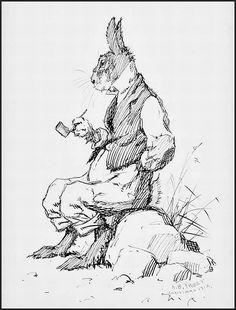 Brer Rabbit sitting on a rock illustration by ABFrost 1912.