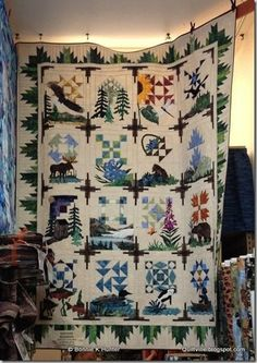 Bonnie HUnter's 265 Alaska sampler - what a beautiful quilt Bonnie! Rustic Quilts, Antique Quilts, Golf Quilt, Wildlife Quilts, Sewing Machine Quilting, Homemade Quilts, Sampler Quilts, Landscape Quilts, Quilted Wall Hangings