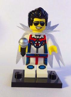 CUSTOM 100% LEGO LAS VEGAS ELVIS PRESLEY THE KING w SPARKLE CAPE FLYING ELVIS #LEGO