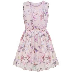 LUCLUC Pink Floral Print Sleeveless Skater Dress (350 SEK) ❤ liked on Polyvore featuring dresses, vestidos, pink skater dress, flower pattern dress, flower print skater dress, floral pattern dress and floral skater dress
