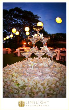 A classic champagne tower. Four Seasons Resort Hualalai Weddings