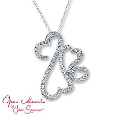 Open Hearts Family 1 ct tw Diamonds 14K White Gold Necklace