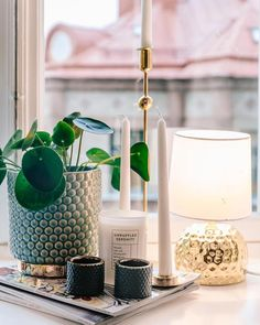 Beautiful and modern window sill decor with candles and plants Interior Styling, Interior Decorating, Interior Design, Window Sill Decor, House Doctor, Plywood Furniture, Home Decor Inspiration, Decor Ideas, Decoration